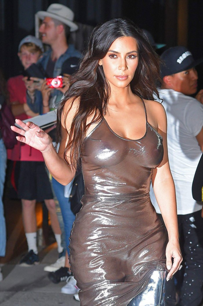 Kim Kardashian nipples showing in shiny dress