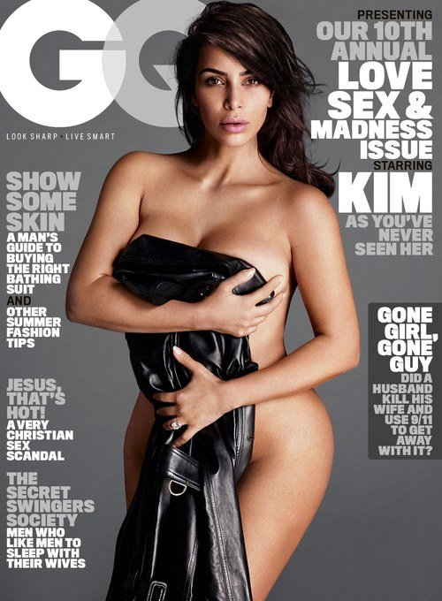 Kim Kardashian posing for GQ cover
