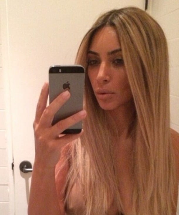 Kim Kardashian topless selfie nipples exposed