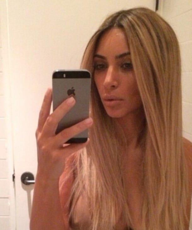 Kim Kardashian topless selfie nipples exposed