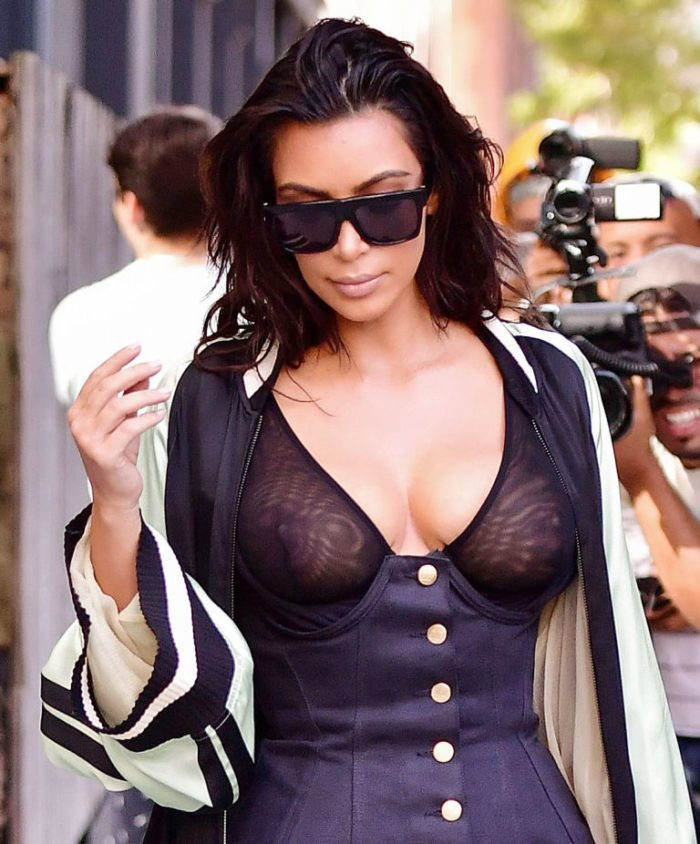 Kim Kardashian walking in NYC with see through top