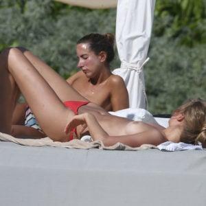 Toni Garrn in Tulum sunbathing without her top on (5)