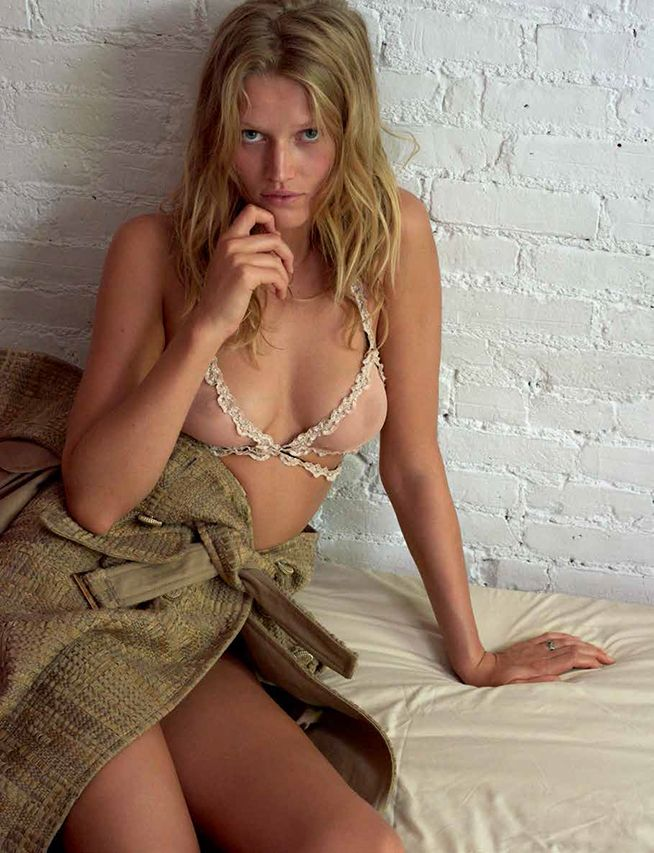 Toni Garrn wearing see through bra