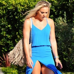 Lindsey Vonn in upskirt pics wearing blue dress (1)
