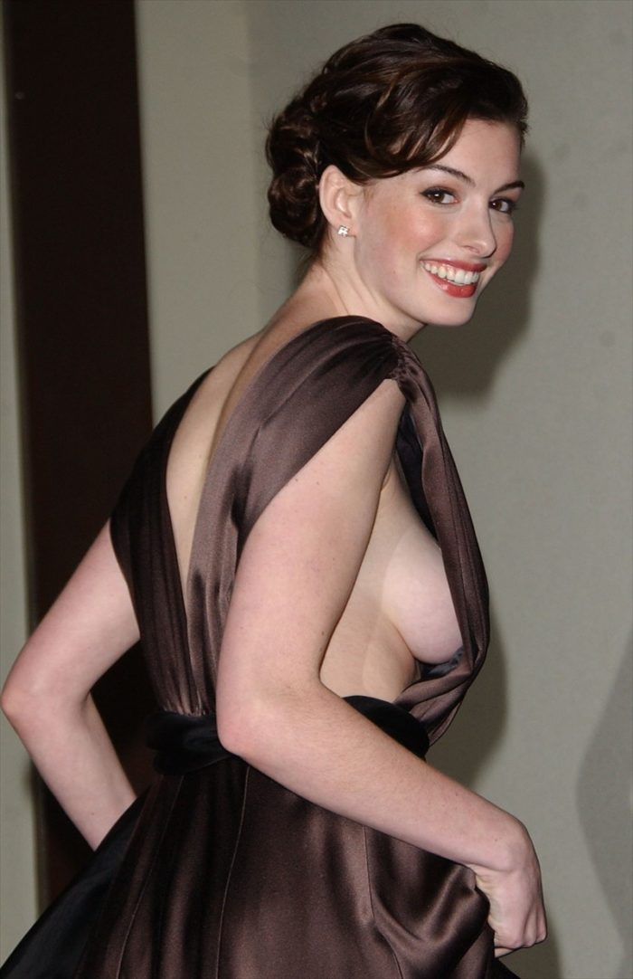 Anne Hathaway side boob popping out
